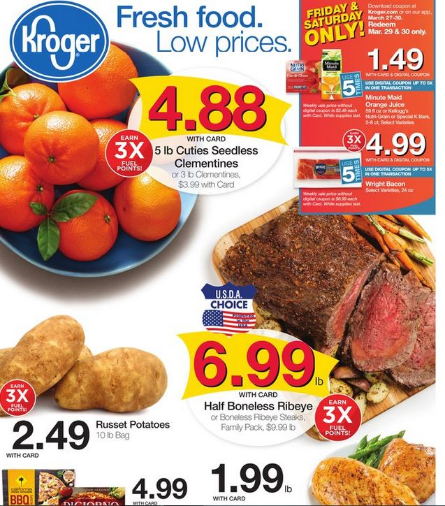Kroger sales circular showing loss leaders that can help you save money at the grocery store on a weekly basis.