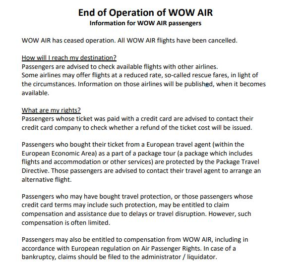Wow Air just went bust- here's what customers should do now