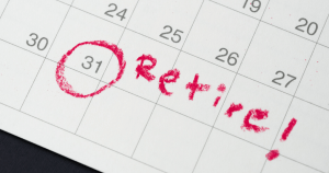 Calendar with date circled and 'Retire!' written on it