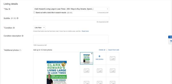 ebay book listing
