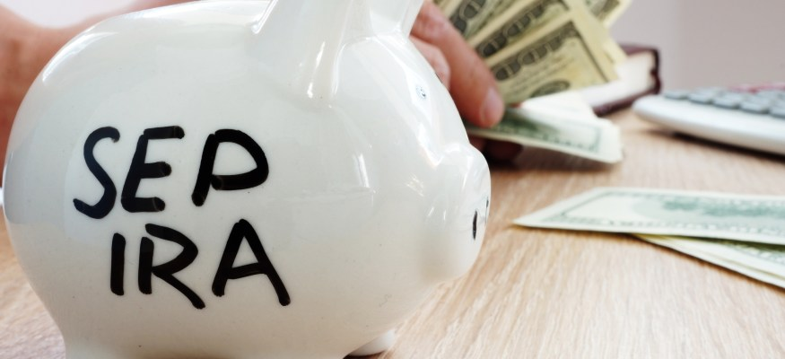 SEP IRA written on a piggy bank