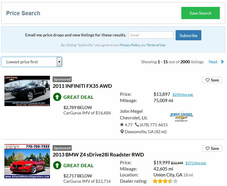 CarGurus.com will comb through millions of listings available on published databases and rate the price points so you can identify deals.