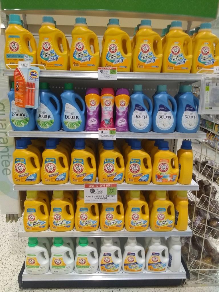 Laundry detergent as a Publix BOGO item placed on end cap of an aisle