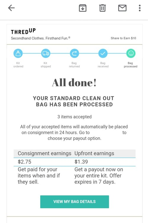ThredUP consignment earnings upfront earnings