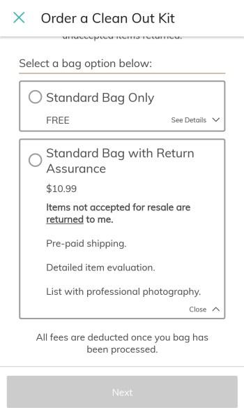 ThredUP Clean Out Kit return assurance