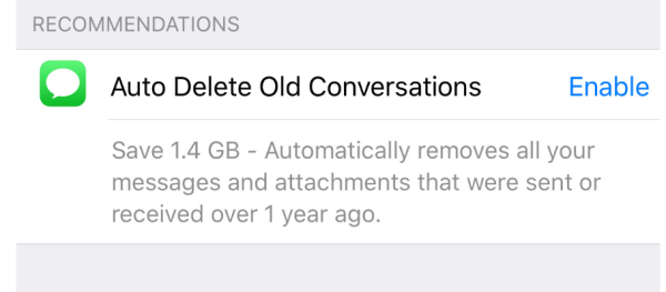 iPhone setting that shows how to auto delete old conversations