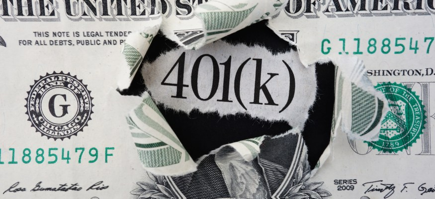 401(k) news headline in center of torn dollar bill