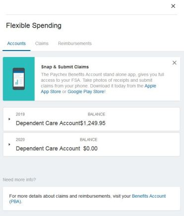 Paychex flexible spending account (FSA) screenshot