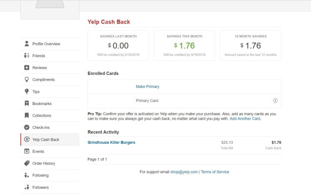 yelp cash back dashboard