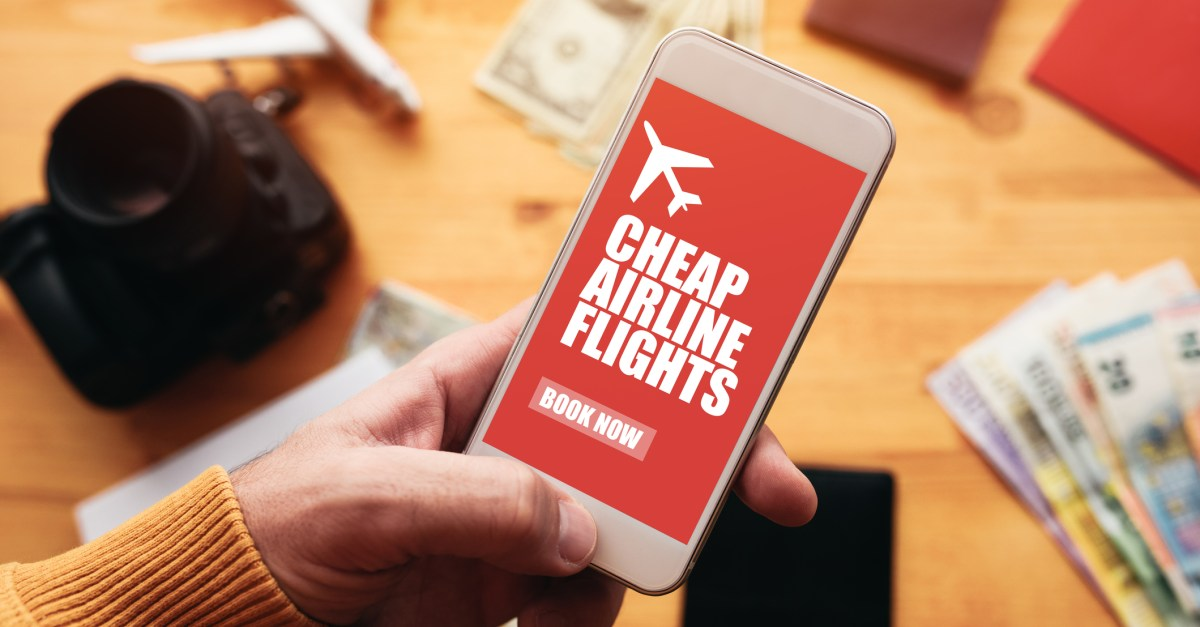 cheap airline tickets booking on a smartphone