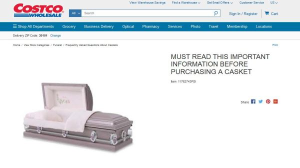 Costco caskets on Costco Wholesale website