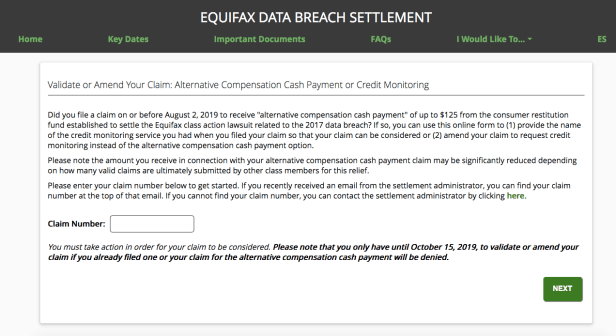 Equifax settlement claim site