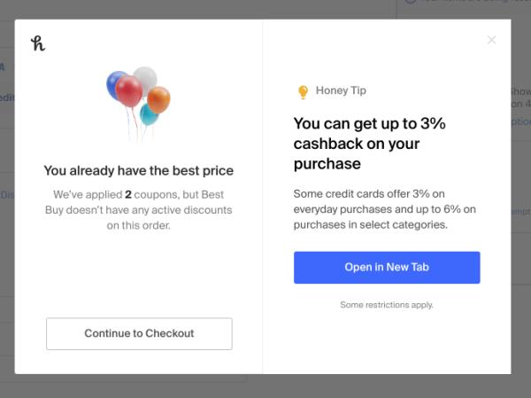 Honey coupon code fail