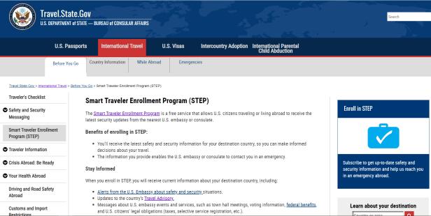 STEP international travel alerts