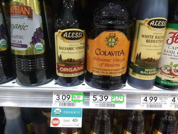 Unit price comparison of balsamic vinegar