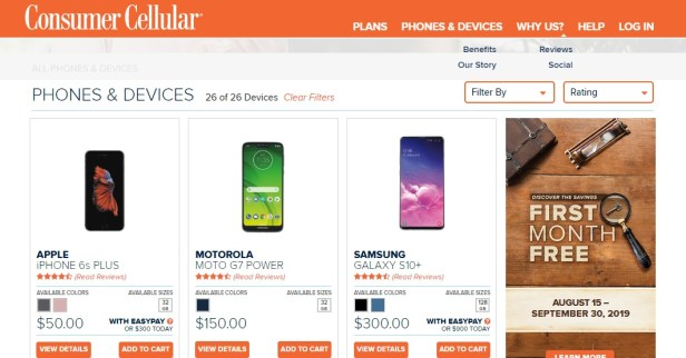 Consumer Cellular phones