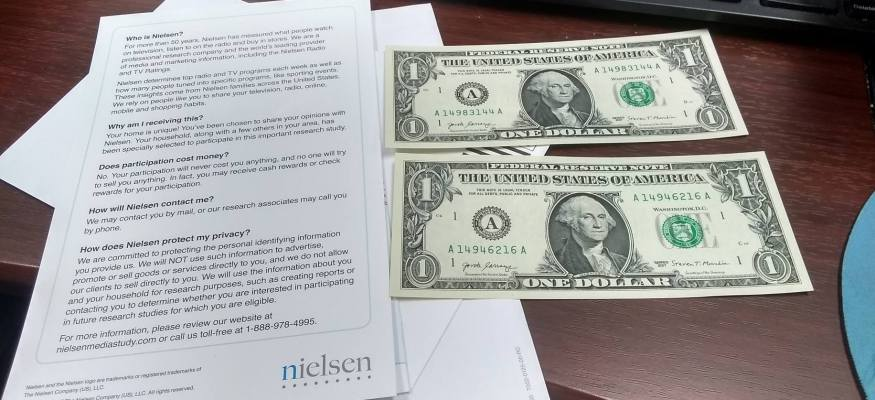 Nielsen survey $2 cash