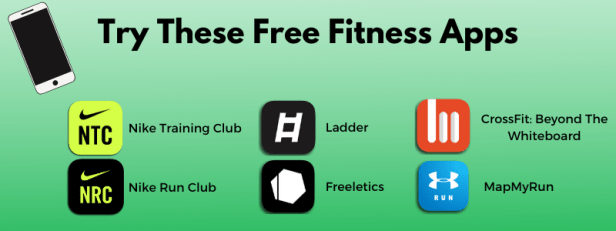 6 free fitness apps including Nike Training club, Nike Run Club, Ladder, Freeletics, Crossfit and MapMyRun.