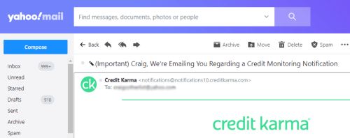 Credit Karma email notification