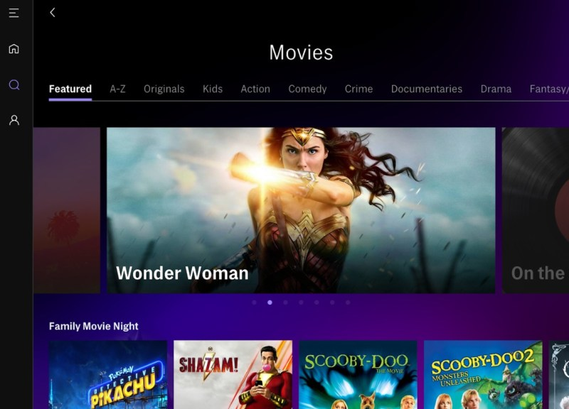 HBO Max has a menu of movies, such as Wonder Woman.