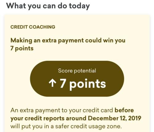 Credit Karma coaching suggestion