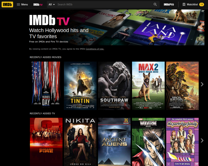 The menu screen for IMDb TV breaks content down by categories.