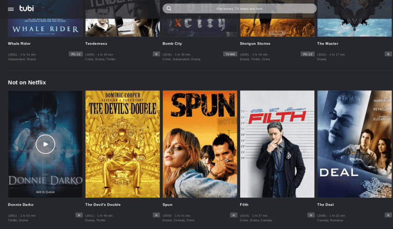 Tubi has an easy-to-use tiled interface.