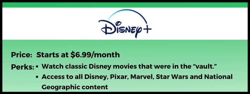 Disney+ offers Pixar, Marvel and Star Wars content.