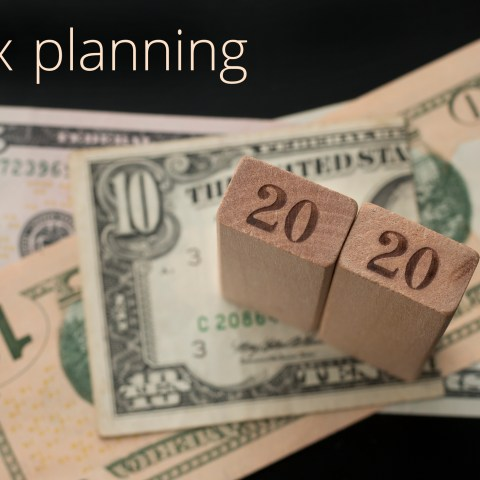 Tax planning graphic with money