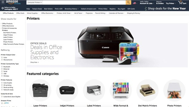 Webpage showing Amazon printers