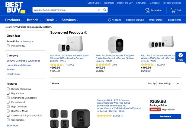 Webpage displaying wireless security systems available at Best Buy