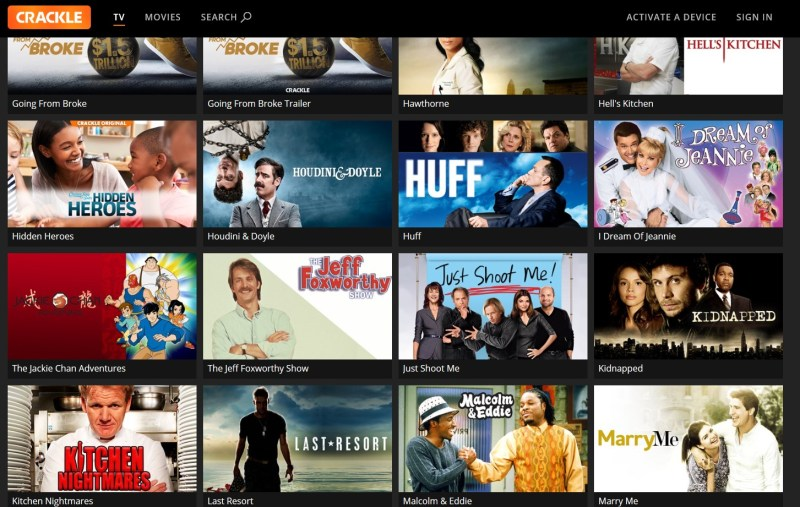 The menu for Crackle is made mostly of content tiles.