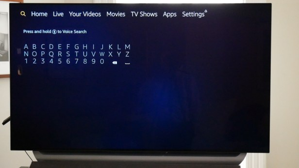 Using the search menu on the Amazon Fire TV stick.