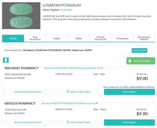 Losartan prescription on WellRx