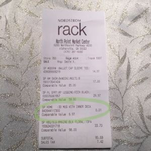 An item cost one penny at Nordstrom Rack