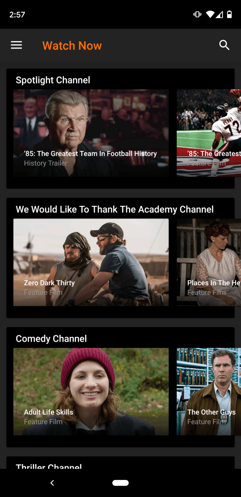 The mobile app for Crackle is easy to navigate.