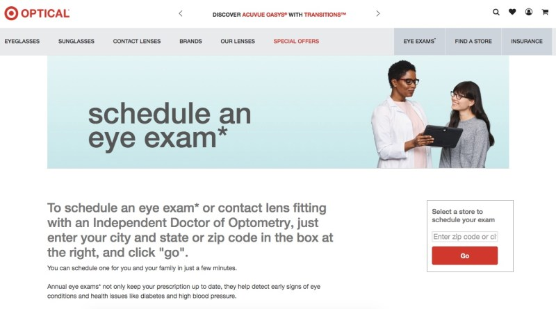 Cheap eye exams at Target Optical