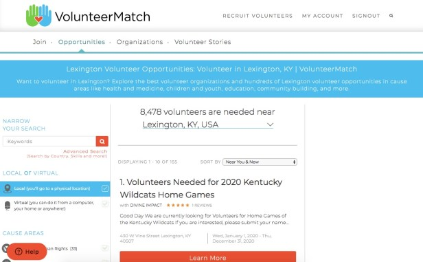 Volunteer opportunities in the local area on VolunteerMatch