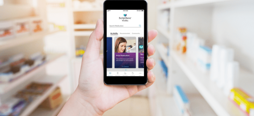 WellRx app on smartphone comparison shopping for medications and prescriptions