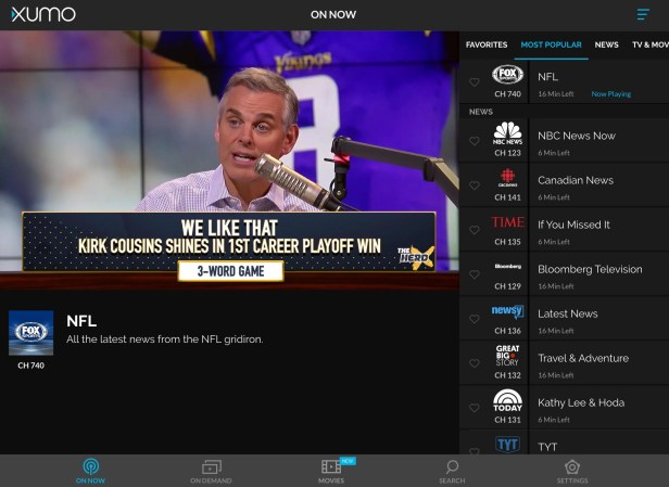 XUMO has live streaming channels for news and sports.