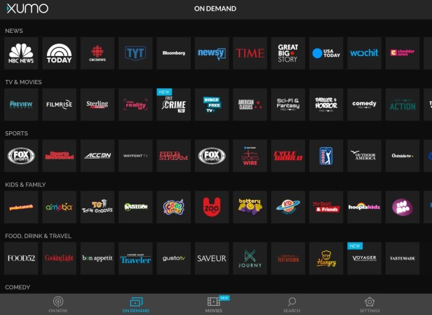 In addition to free living stream, XUMO also has on-demand streaming options.