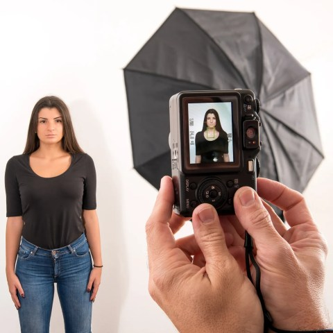 Woman getting passport photo taken