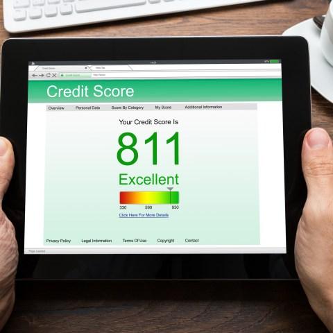 Person checking credit score