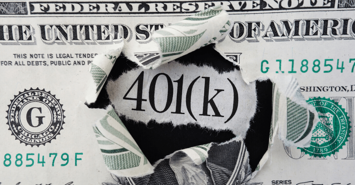 Dollar bill with 401k image