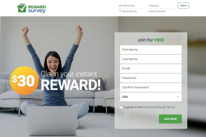 RewardSurvey homepage