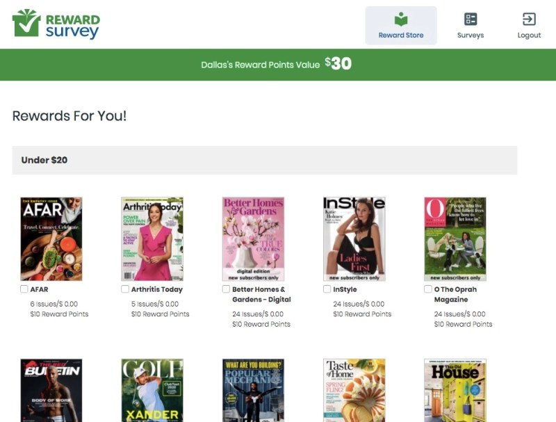 Free magazines available at RewardSurvey