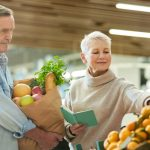Senior citizens shopping at a grocery store
