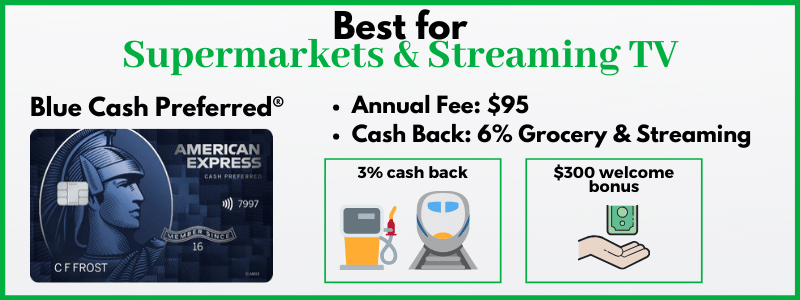 Blue Cash Preferred offers an impressive 6% cash back on supermarkets and streaming.