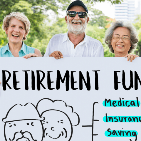 Retirees holding sign showing retirement budget and expense categories