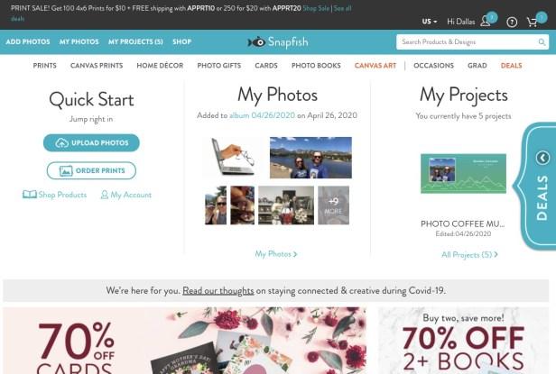 Snapfish photo printing website